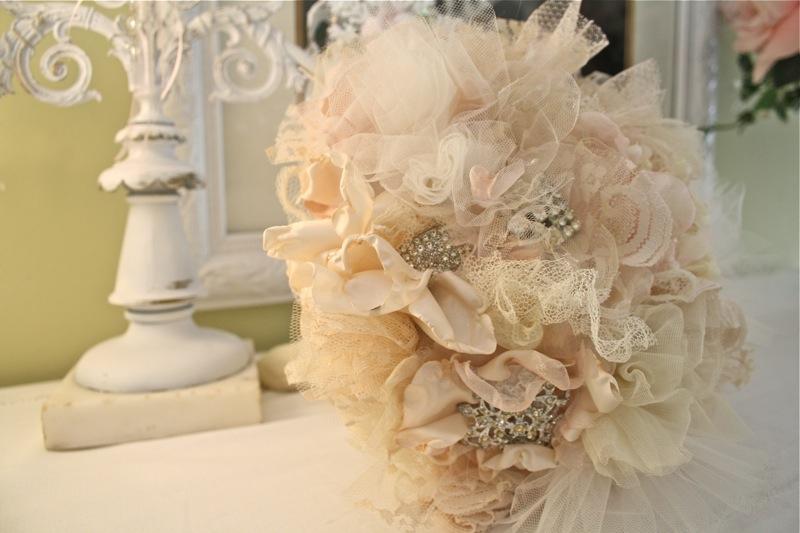 The Polka Dot Closet Fabric Flower Bridal Bouquet