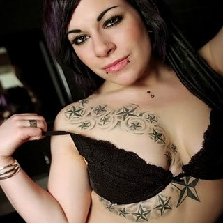 Star Tattoos on Breast