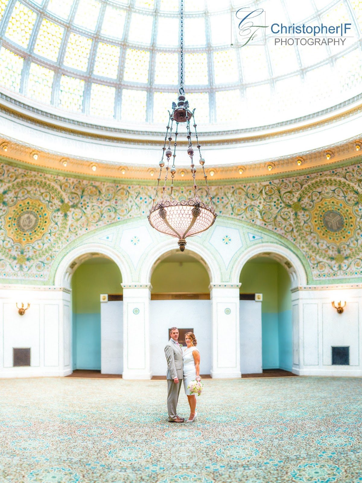 Chicago Cultural Center Tiffany Dome Brenizer Panorama Wedding Photo