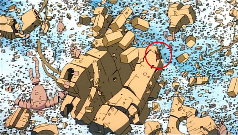 実は崩れゆくラピュタのがれきの中にムスカが居るんです