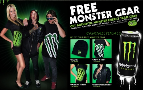 Free Monster Gear With Product Purchase Mail-In Can Tabs (Pay Shipping ...