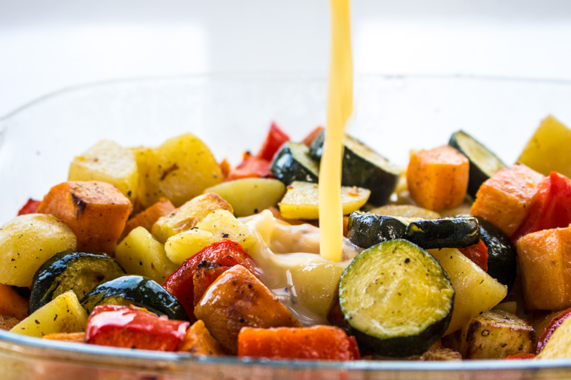 roasting all the vegetables before making the quiche ensures that