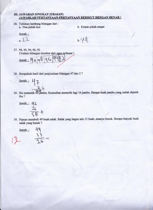 Hasil/Soal Ulangan Kelas 1 SD semester genap