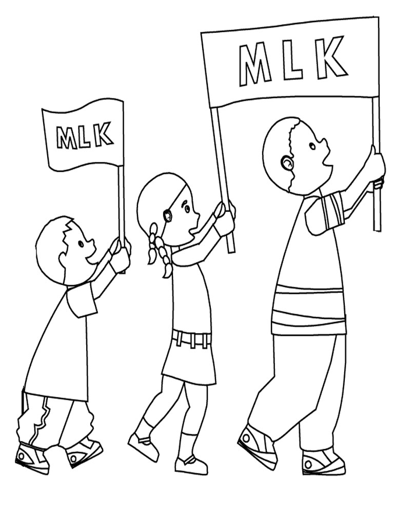 Martin luther king march coloring sheet realistic for Martin luther king jr coloring pages