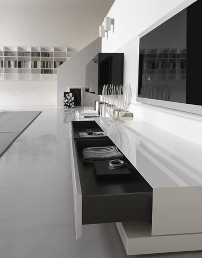 Furniture Interior Design Living Room with glossy white and black