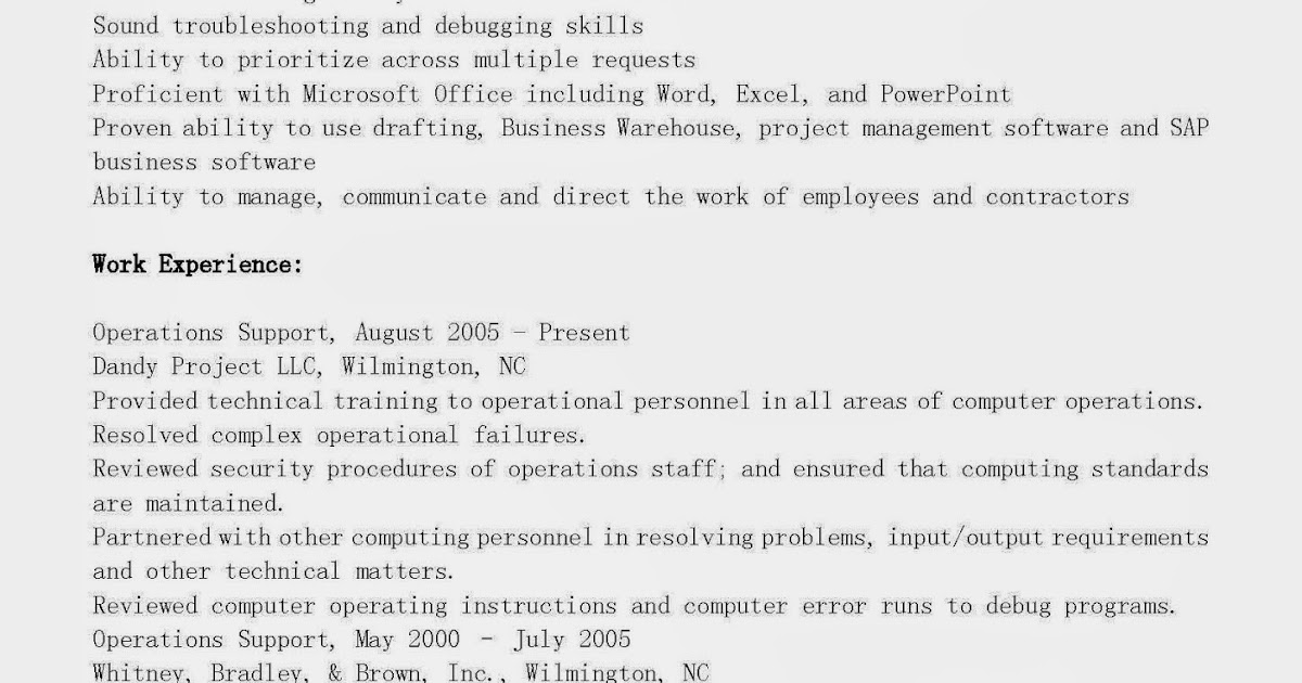 resume sles operations support resume sle