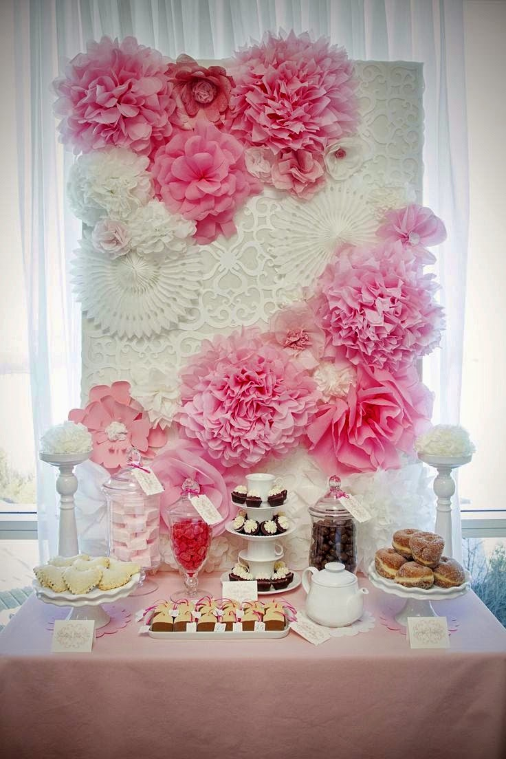 a beautiful flowery soft look in whites and pinks, perfect for a bridal, baby shower or girls party.