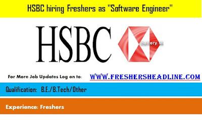HSBC hiring Freshers