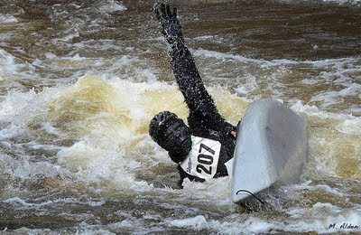 Gorilla capsizing in the Kenduskeag Stream Canoe Race - photo by Michael Alden