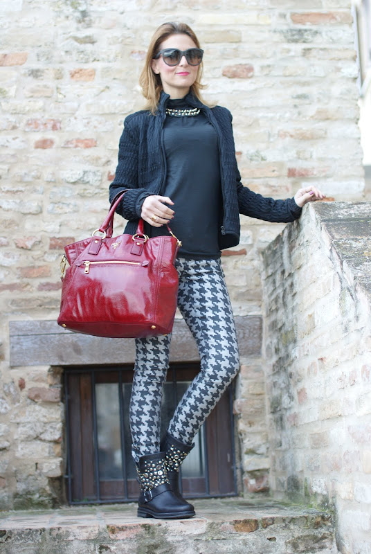 houndstooth pants, pied de poule trend, studded bikers