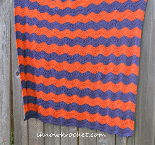 purple and orange chevron blanket