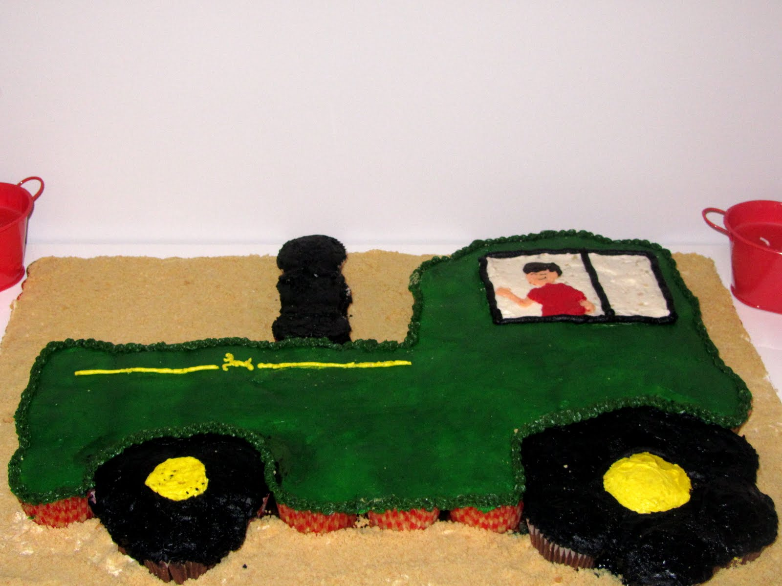 Tractor Cake Out Of Cupcakes