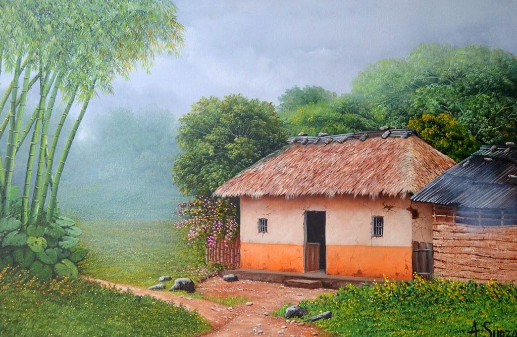 Im genes arte pinturas paisajes con casas del campo - Paisajes de casas de campo ...