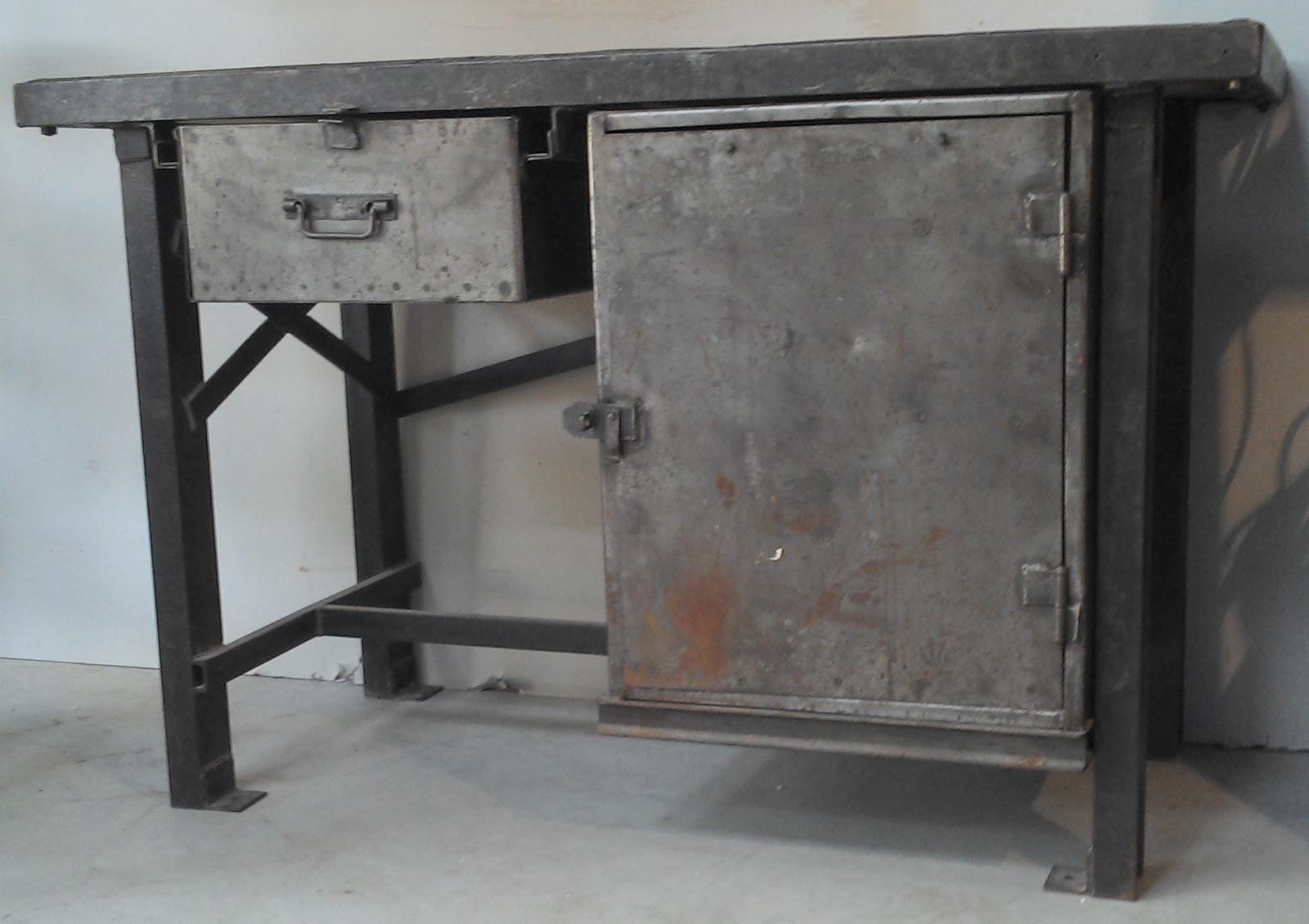 Ancien meuble de m tier m tal bross atelier industriel - Etabli industriel ancien ...