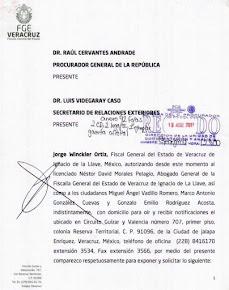 FISCALÍA DE VERACRUZ EMITE DOCUMENTO QUE SE ADHIERE AL PEDIMENTO DE EXTRADICIÓN DE JAVIER DUARTE