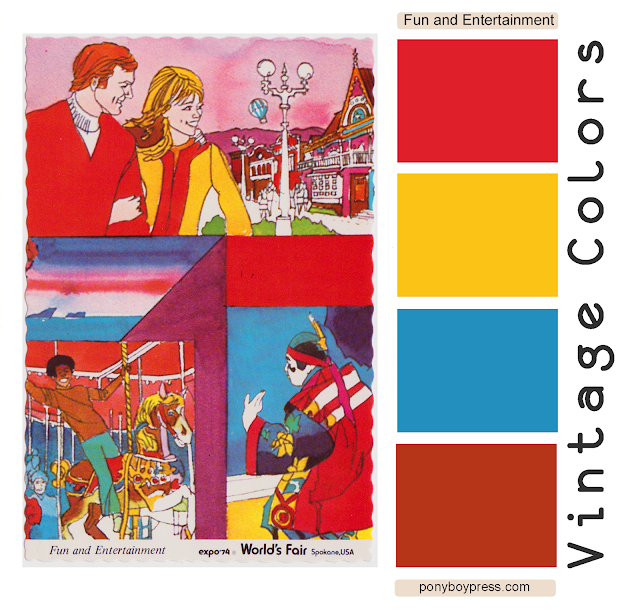 vintage color palettes - vintage expo fun and entertainment 1974 worlds fair - ponyboy press