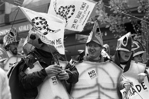 Anti-WTO Protesters: Seattle, WA 1999. (Photo by Seattle Municipal Archives)