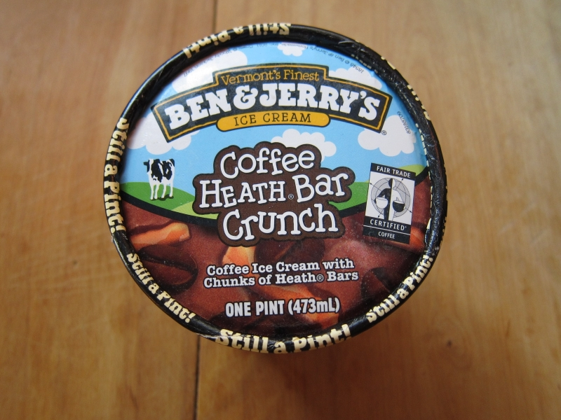Ben & Jerry's Coffee Heath Bar Crunch ice cream is fairly simple with...