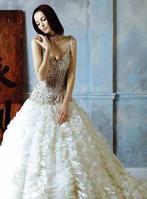Sheath/ Column Straps V-neck Court Train Elastic Wedding Dress
