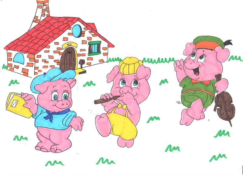 Studiamando liberamente i tre porcellini con disegni da for Due case di mattoni storia