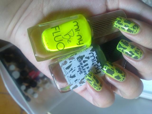 nail art con smalti mi-ny graffit top e be fluo