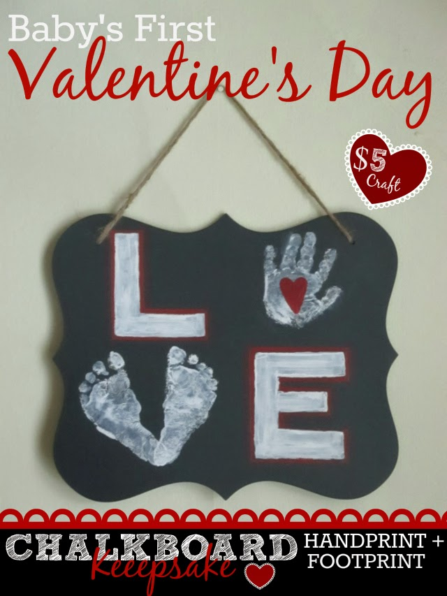 Baby's First Valentines Day Chalkboard Handprint and Footprint LOVE Chalkboard Sign Keepsake Craft Tutorial One Savvy Mom onesavvymom