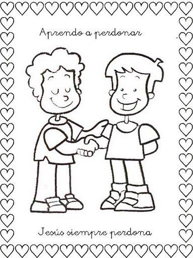 Dibujo de dos niños aprendiendo el Don de Perdonar ~ Colorea el dibujos