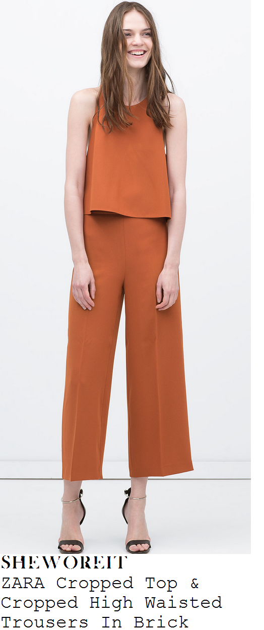 lucy-mecklenburgh- orange-sleeveless-crop-top-and-wide-leg-cropped-trousers