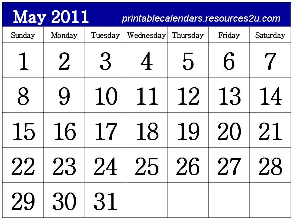 may 2011 calendar printable free. free printable calendars may