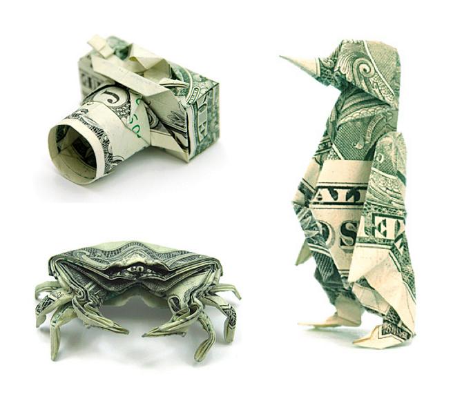 Origami Dollar bentuk penguin kepiting