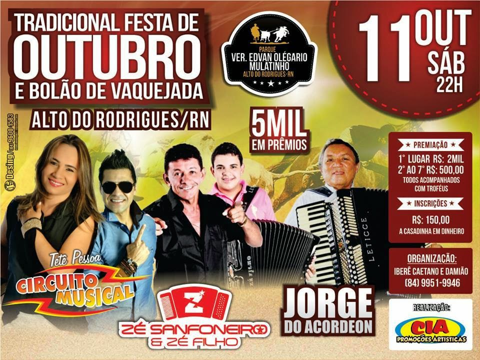 Vem Ai ! tradicional Festa de Outubro e Bolão de Vaquejada em Alto do Rodrigues