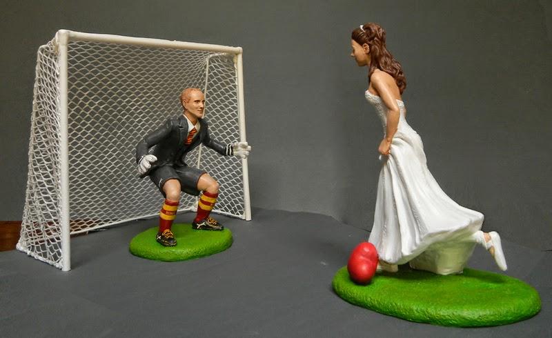 cake topper sposi calciatori sposa cuore statuine matrimonio orme magiche