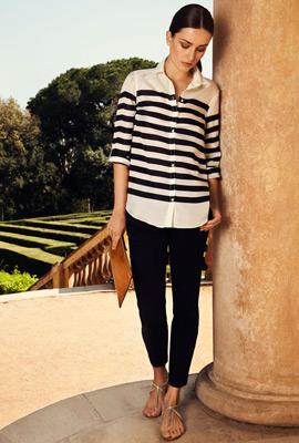 pantalón tobillero y camisa rayas blanca negra Massimo Dutti mujer primavera verano 2013