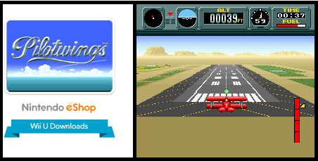 Title screen and screenshot of light plane flying in SNES game Pilotwings