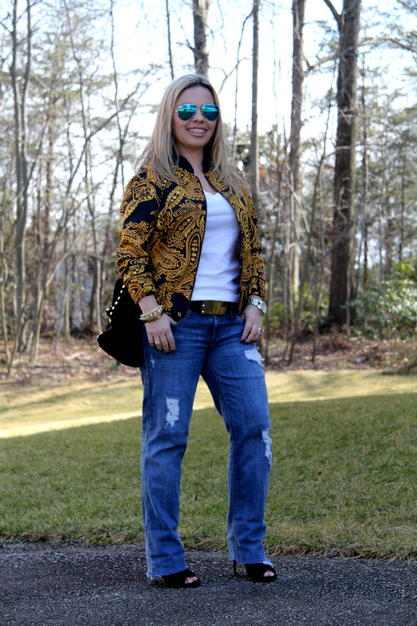 Baroque Jacket from Urban Outfitters (from my closet),  Sold Denim Distressed Boyfriend Jeans, Ray Ban Aviator Glasses with Blue Metallic Lenses, Zara Studded City Bag