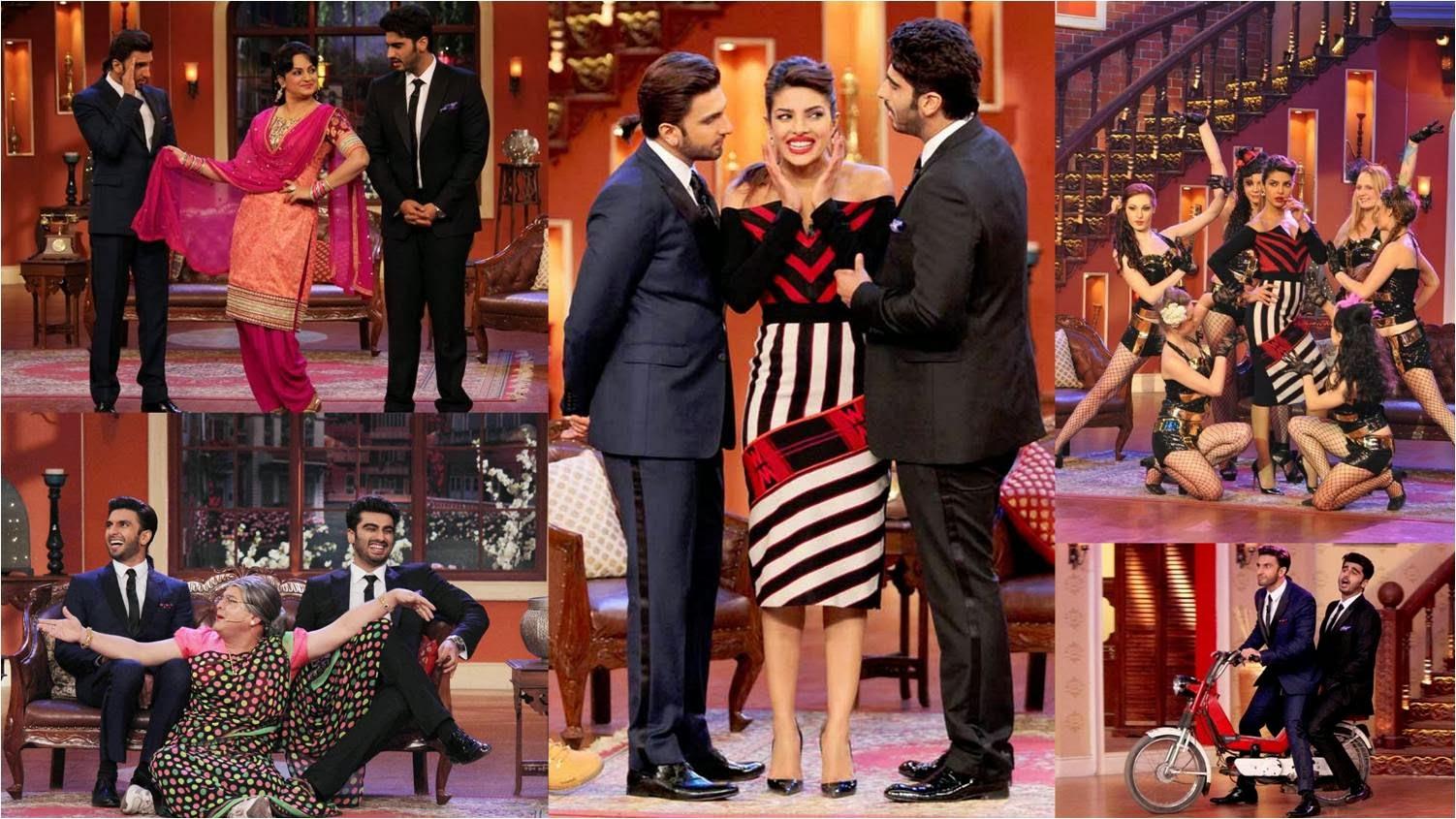 Arjun Kapoor, Priyanka Chopra and Ranveer Singh laughing at Comedy Nights with Kapil