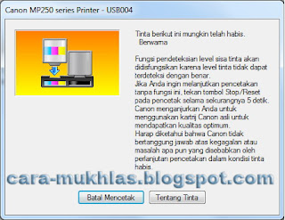 Cara Mengatasi Printer Canon MP258 Kode Error E13
