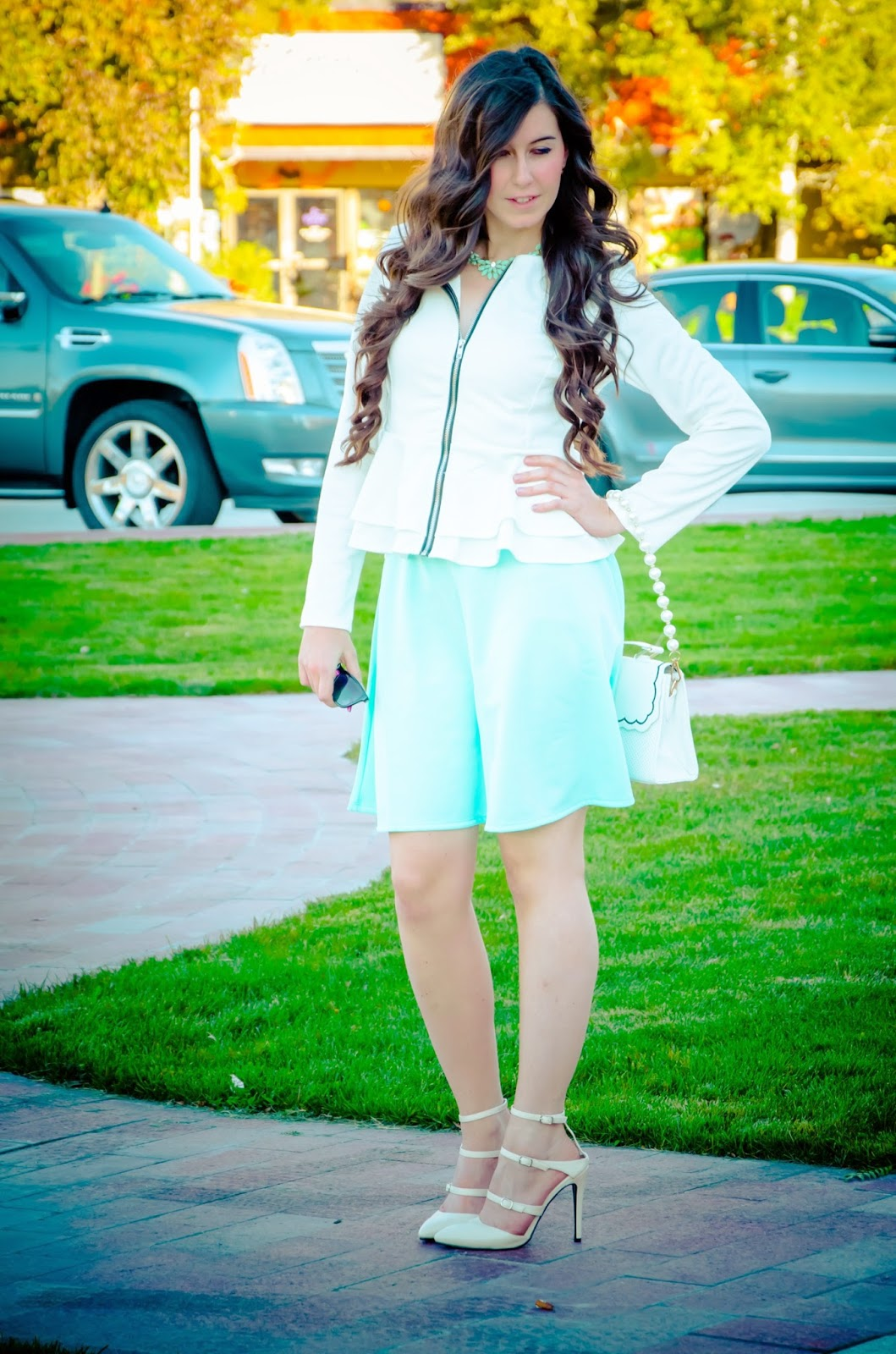 date night outfit, blackfive peplum jacket, peplum jacket, white and mint, charlotte russe skirt, charlotte russe, strap heels, ankle strap heels, pretty outfit,