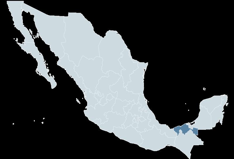 Ubicación de Tabasco en el mapa de México