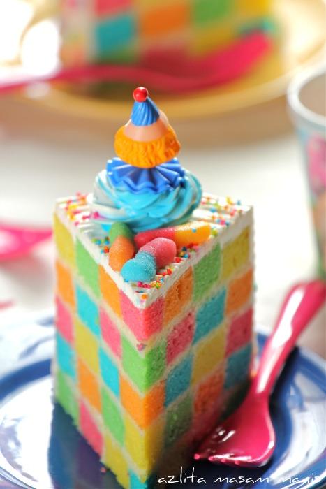 Rainbow Checkered Cake Masam Manis