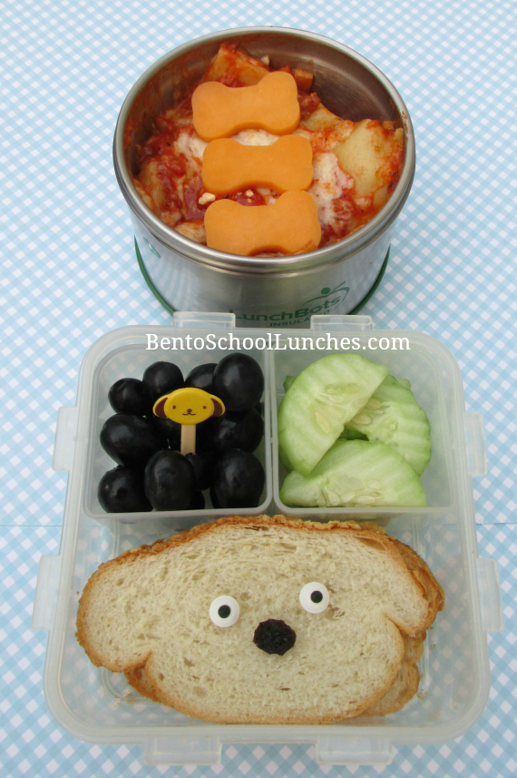 Leftover lasagna for lunch, dog themed