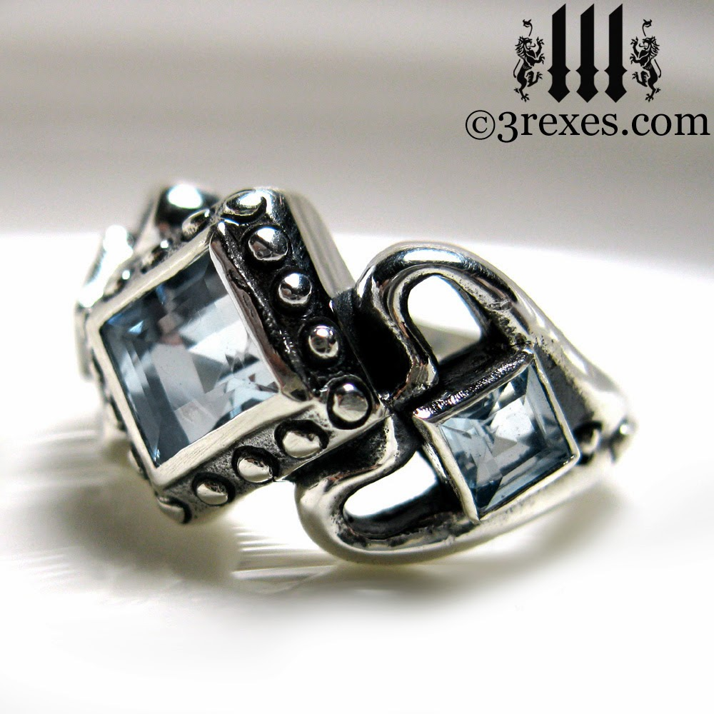 Princess Love Gothic Engagement Ring With Aquamarine