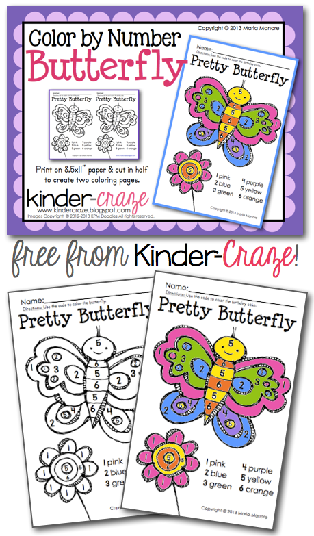 FREE color by number Butterfly!