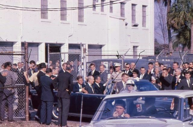 11/18/63 Tampa, FL: Agents Lawton and Zboril near rear of limo; SAs Tim Mcintyre and GLEN BENNETT