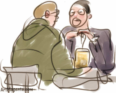 Discussion over a beer is a gesture drawing done on an iphone by artist and illustrator Artmagenta