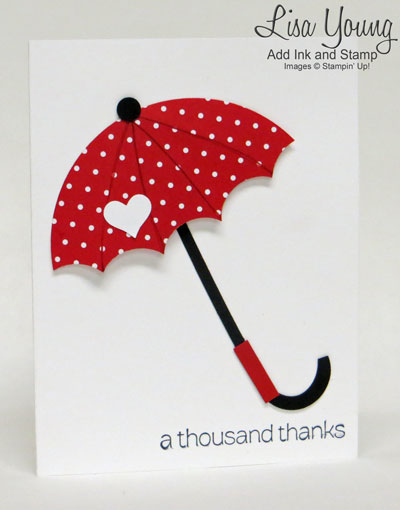 Handmade card with Red Umbrella made with Stampin' Up! paper and Circle framelits and punches.