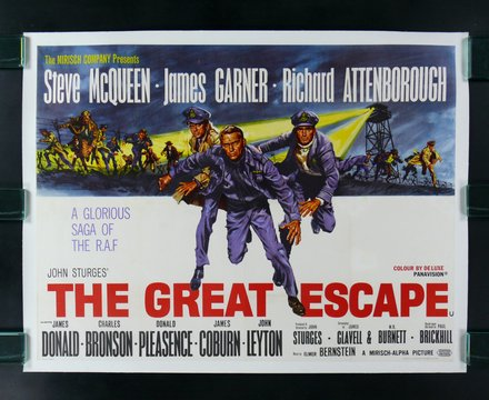 classic posters, free download, graphic design, movies, retro prints, theater, vintage, vintage posters, The Great Escape, Steve McQueen, James Garner - Vintage Movie Poster