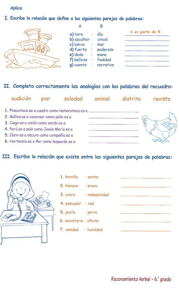 Analogías para Niños 6º primaria | Razonamiento Verbal