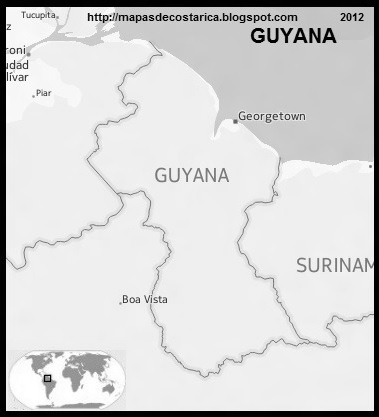 Mapa de GUYANA, Nokia, blanco y negro
