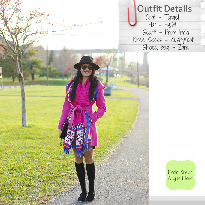 Pink wrap coat, Hot Pink Wrap coat, Pink wrap belted coat, Wrap collar coat, Knee high socks for boots